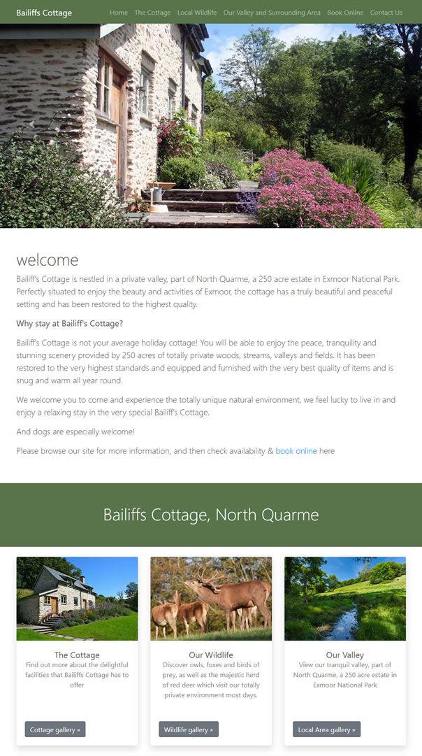 Exmoor Holiday Cottage Bailiffs Cottage, North Quarme, Somerset
